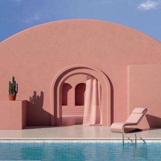 Która z Was marzy o takim domu? 😍 My chyba dorzucilibyśmy tu jeszcze jacuzzi 🤪  #gabbiano #gabbianopl   #pinterest #inspiration #architecture #pinkhouse #bythepool #homeinspo
